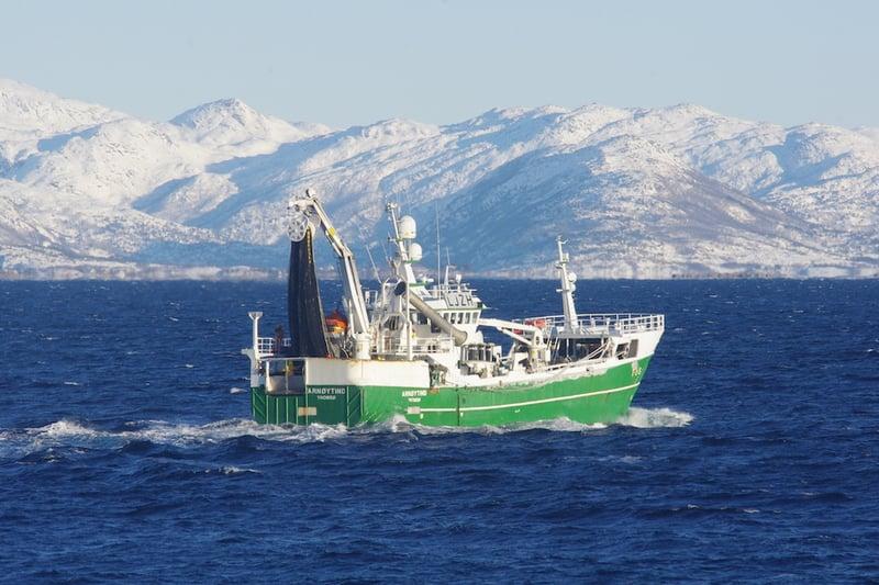 Norges Sildesalgslag er en markedsplass som eies og drives av norske fiskere, her representert ved båten Arnøytind underveis i Barentshavet. FOTO: Olav Endre Drønen/Norges Sildesalgslag